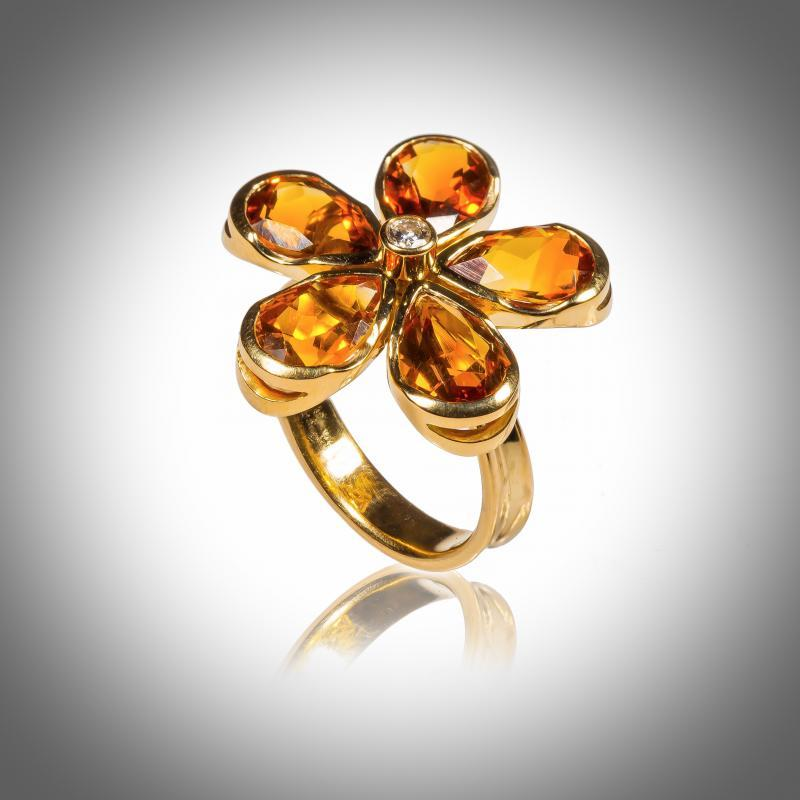 Bague - Or blanc - 18 carats - Citrine cognac - Diamants