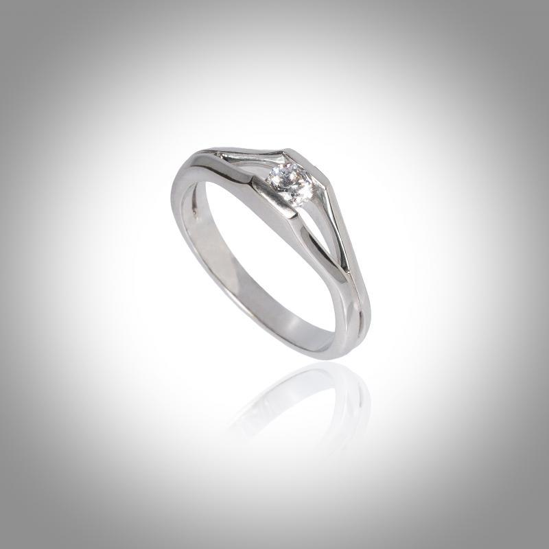 Bague - Or blanc - 18 carats - Solitaire - Diamant blanc
